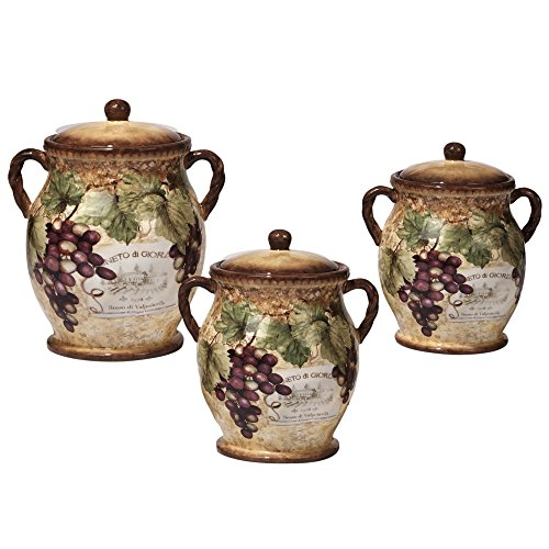 (Certified International 16008 3 Piece Gilded Wine Canister Set, Multicolored)