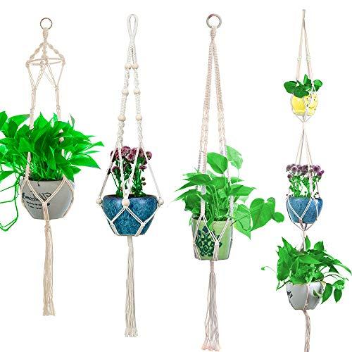 Macrame Plant Hangers, Large Indoor Outdoor Wall Hanging Planter Basket Flower Pot Holder, Boho Home Decor Gift Box 4-in-1