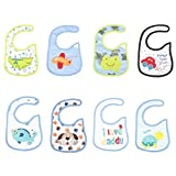 Unisex 8-Pack Baby Shower Gift Set Cotton Bibs Boy for Drooling and Teething, Super Soft and Absorbent, Hypoallergenic Bibs Waterproof for toddlers babies Boys