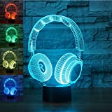 New 3D Wireless Headphone Night Light Touch Switch Decor Table Desk Optical Illusion Lamps 7 Color Changing Lights LED Table Lamp Xmas Home Love Brithday Children Kids Decor Toy Gift