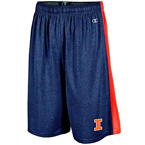 NCAA Illinois Illini Men's Heather Jersey Color Blocked Training Shorts, Medium, Navy Heather