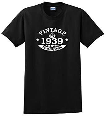 0d38ff972 80th Birthday Decorations 80th Birthday Gift Vintage 1939 Perfect Aged  Crown T-Shirt Small Black