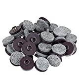 LOUFIMIDON Furniture Nail, Heavy Duty Ring Felt Pads Nail, Round Furniture Protectors for Wood Furniture and Hard Floor Surfaces (Brown, 36 Pack)
