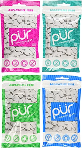 Pur Gum Variety Pack - Peppermint, Pomegranate Mint, Spearmint and Wintergreen - 57 Pieces Each
