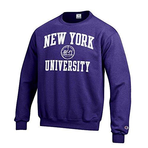 Elite Fan Shop New York University Violets Crewneck Sweatshirt Seal Purple   L