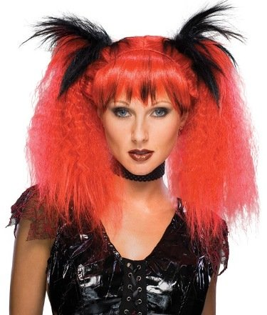 (Womens Wig Red Futuristic Punk Goth Clubbing Rocker Wig Adult Standard)