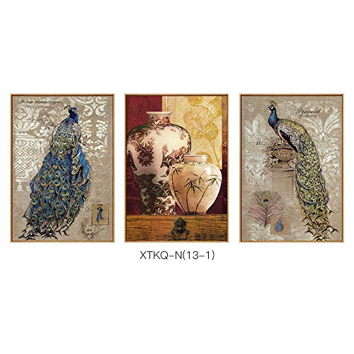 SED Peacock Series Retro Nostalgic Decorative Painting, Lucky Style Hanging Painting, Living Room Porch Hotel Office Wall Decoration,B,6080cm