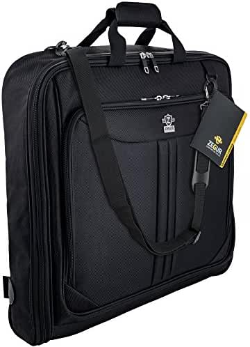 ZEGUR 40-Inch 3 Suit Carry On Garment Bag for Travel or Business Trips - Features an Adjustable Shoulder Strap and Multiple Organization Pockets - Black
