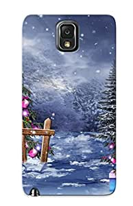 Galaxy Note 3 Case Cover - Slim Fit Tpu Protector Shock Absorbent Case (christmas Magic Tree Winter Snow Gifts Boxes Beads Balls Toys )