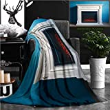Nalagoo Unique Custom Flannel Blankets Black Electric Fireplace With Decoration Photographed In The Interior Super Soft Blanketry for Bed Couch, Twin Size 80'' x 60''