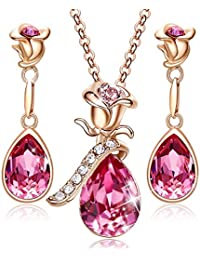 Necklace Earrings Set for Women Valentine Jewelry Gifts 18K Rose Gold Plated Jewelry Sets Embellished with Crystals from Swarovski