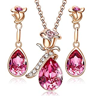 CDE Jewelry Sets for Women Rose Gold Jewelry Embellished with Pink Crystal from Austria Christmas Jewelry Gifts Necklace and Earrings Set for Mom