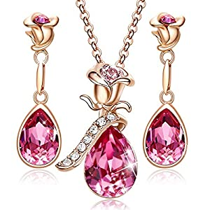 CDE Rose Flower Jewelry Set for Women Rose Gold /Rhodium Plated Earrings and Necklace Set Embellished with Crystals from…