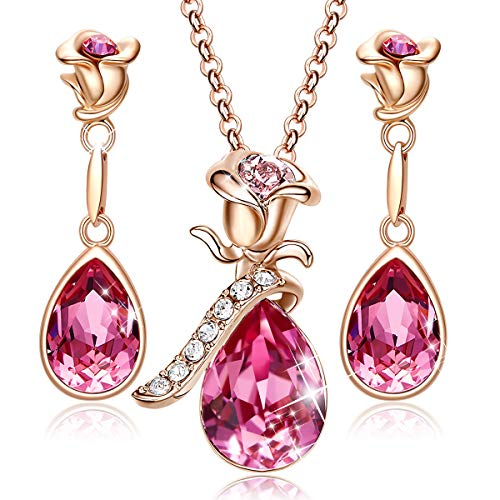 CDE Jewelry Set for Women Pink Flower Rose Gold Plated Pendant Embellished with Crystals from Swarovski Necklace and Earrings Set Gift