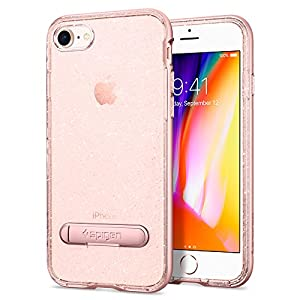 Spigen Crystal Hybrid iPhone 8 / iPhone 7 Case with Water-Mark Free TPU and Magnetic Metal Kickstand for Apple iPhone 8 (2017) / iPhone 7 (2016) - Glitter Rose Quartz