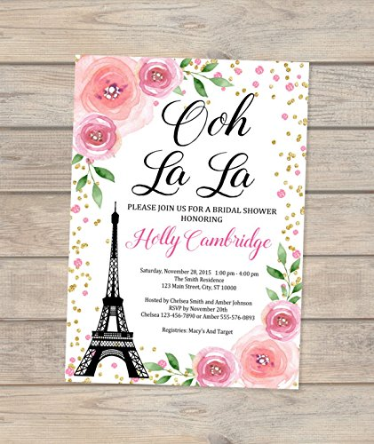paris bridal shower invitations floral bridal shower invitation eiffel towel french bridal shower invites