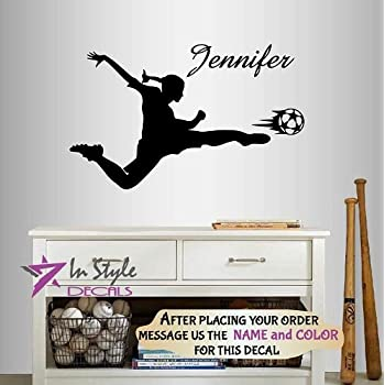 Soccer Girl With Custom Name NumberSoccer Wall Decal Removable - Custom vinyl decals minnesota