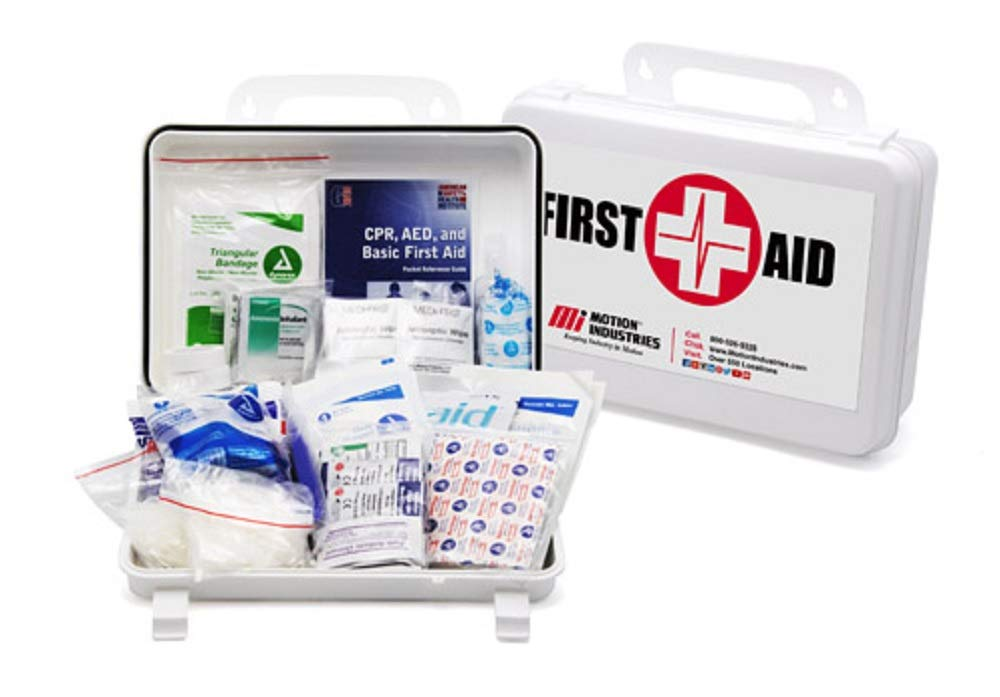 Shield Safety First Aid Kit for 10 People. All-Purpose Plastic Medical Kit for Emergency, Survival Situations at Home, School, Outdoors, Car, Workplace. Ideal for Camping, Travel, Sport. Meets ANSI.