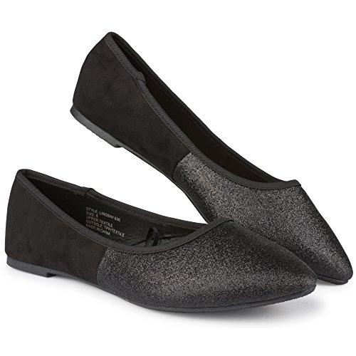 Twisted Womens Lindsay Glitter Almond Toe Ballet Flats Black qmGWPwu