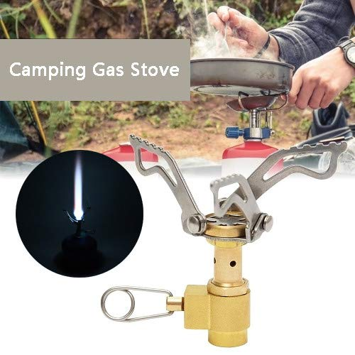CapsA Portable Camping Stoves Backpacking Stove Mini Stainless Steel Material for Backpacking Hiking Riding Mountaineering Camping Outdoor Fold Oven Gas Stove Furnace Picnic Cooking Gas Burne (Yellow) ()