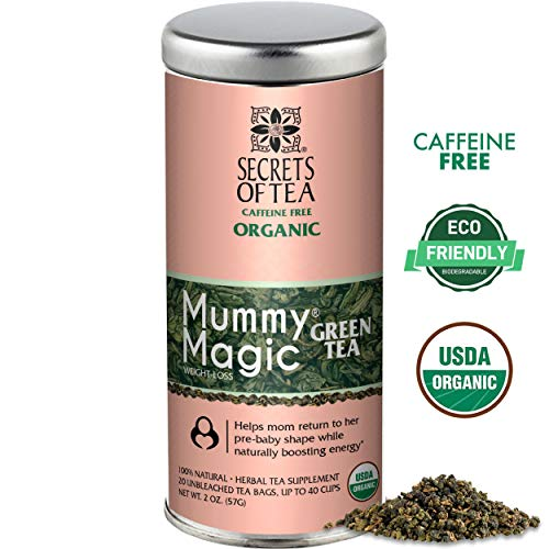 Mummy Magic Green Tea by Secrets of Tea - Natural Postpartum Weight Loss Tea with no chemicals & no caffeine- Safe while breastfeeding- 20 Sachets- Up to 40 servings (Best Tea For Breastfeeding)