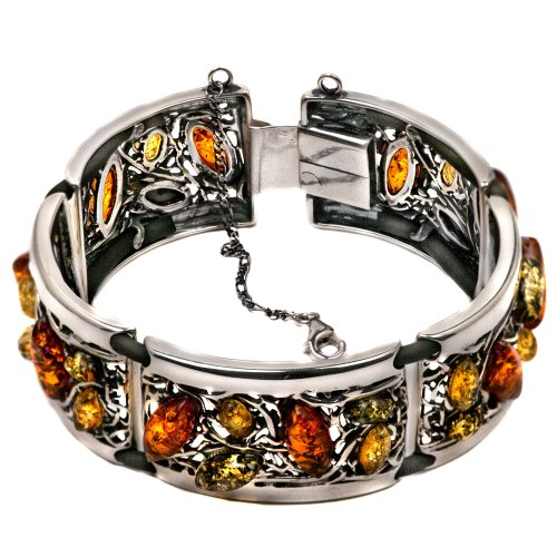 Sterling Silver Multicolor Amber Antique Look Link Bracelet 7 Inches by Amber by Graciana