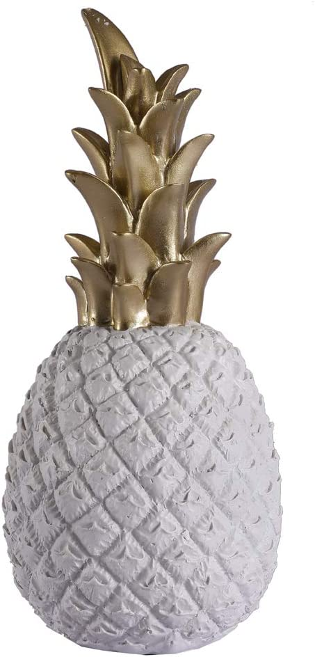 Resin Pineapple Decoration, Household Decorative Pineapple, Fashion Artificial Pineapple, Fake Resin Pineapple Ornament, Home Decor Centerpiece by Lovecat (White, L)