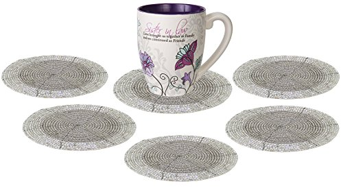 SKAVIJ Glass Beads Tea Coasters Set of 6 for Home and Office Desk (Dia - 4 Inch, Silver)