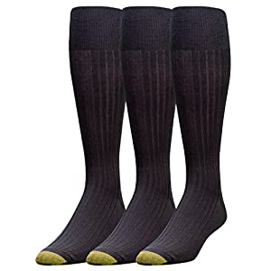 Gold Toe Men's Canterbury Over-the-Calf Dress Socks (Three-Pack),Black,10-13 (Shoe Size 6-12.5)