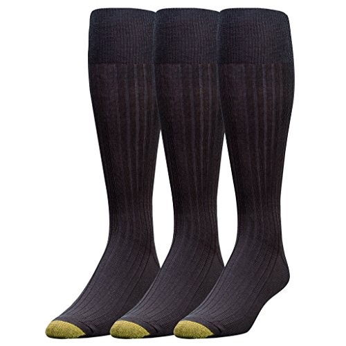 Gold Toe Men's Canterbury Over-the-Calf Dress Socks (Three-Pack),Black,10-13 (Shoe Size 6-12.5) by Gold Toe