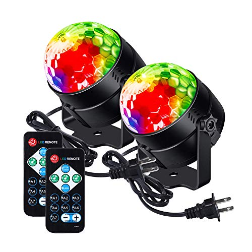 LUNSY Party Lights Sound Activated Disco Ball Lamps Strobe Light, 7 Lighting Color dj Lights with Remote Control for Bar Club Party DJ Karaoke Xmas Wedding Show Indoor and Outdoor (2 Pack) ()