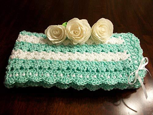 Mint Crochet Baby Blanket, Mint Crochet Baby Afghan, Mint Handmade Baby Blanket, Green Baby Blanket, Green and White Newborn Blanket