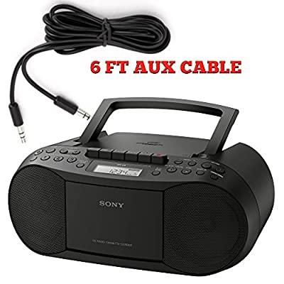 Sony CFDS70-BLK CD/MP3 Cassette Boombox Home Audio Radio, Black from Sony