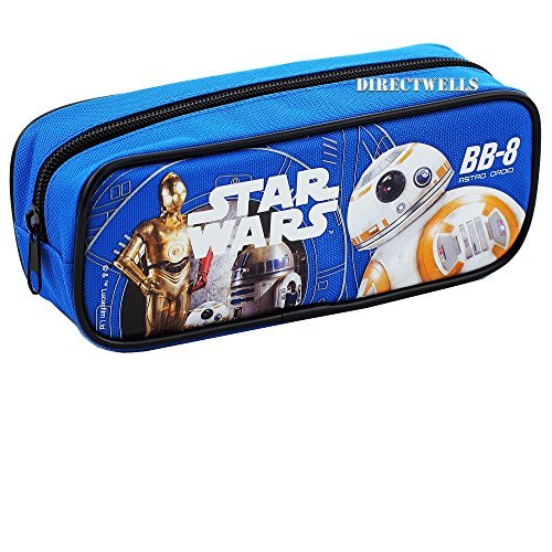 Star Wars Robot BB Character Authentic Licensed Single Zipper Pencil Case (Blue)