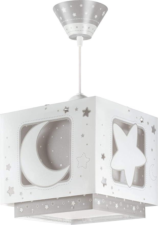 Dalber 63232E - Lámpara colgante, diseño luna, color gris, halógena de bajo consumo, plástico