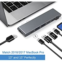 Cateck Aluminum Type-C Multi-Port Pro Hub Adapter with Superspeed 40Gbs Thunderbolt 3, Pass-Through Charging, 4k HDMI, SD/Micro SD Card Reader, USB-C port and 2 USB 3.0 Ports for MacBook Pro 2016/2017