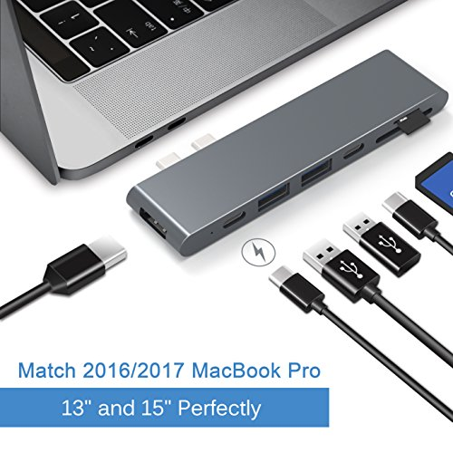 Cateck Aluminum Type-C Multi-Port Adapter with Superspeed 40Gbs Thunderbolt 3, Pass-Through Charging, 4k HDMI, SD/Micro SD Card Reader, USB-C port and 2 USB 3.0 Ports for MacBook Pro by Cateck
