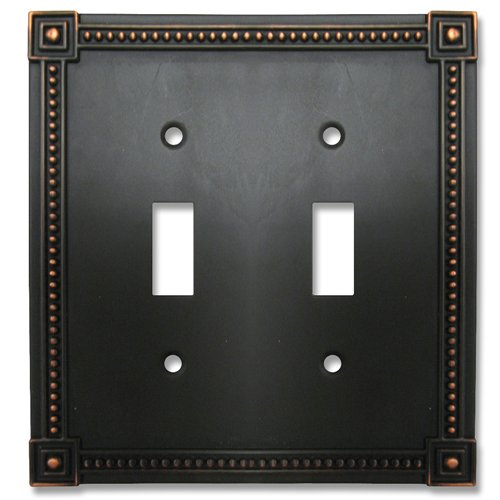 Decor Switchplate - Amerelle 92TTDB Traditional Bead Cast Metal Wallplate with 2 Toggle, Aged Bronze