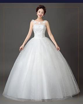 Desconocido Vestido de novia estilo coreano Qi encaje vestido de novia palabra hombro boda verano,
