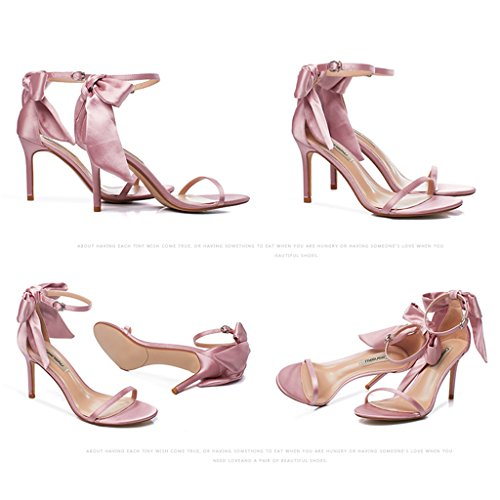 sexy shoes Women high Pink fine with Champagne 36 bows 8 casual shoes student Color 5cm sandals heels Size q0w4pvU