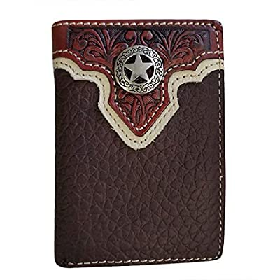 Mens Western Cowboy Wallet Genuine Leather Trifold Wallet for Men Gift