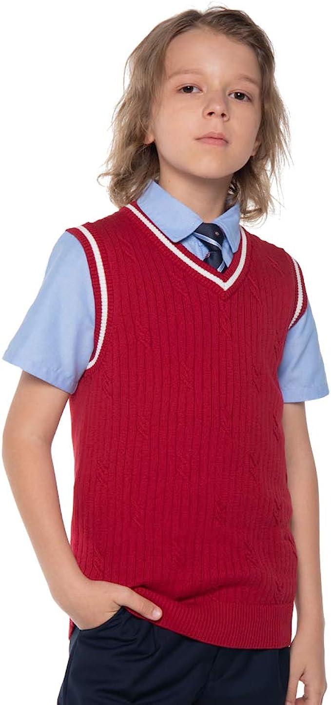 Gioberti Boys V-Neck 100/% Cotton Knitted Pullover Sweater Vest