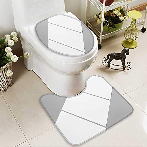 Portrait 2 Toilet Piece (Analisahome Soft Toilet Rug 2 Pieces Set blank portrait a brochure magazine isolated on gray changeable background white Machine-Washable)