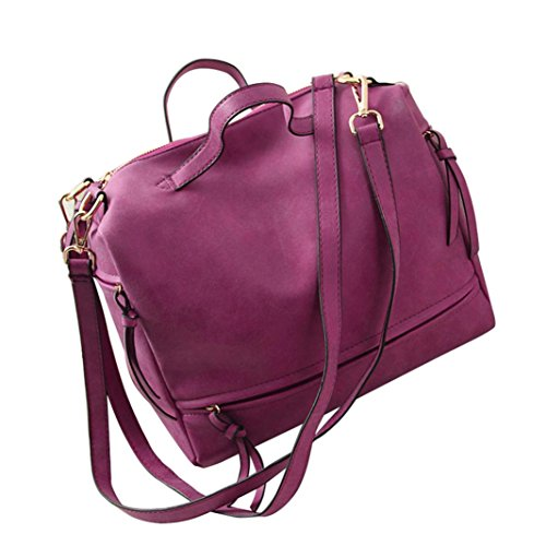 Price comparison product image GBSELL Women Messenger Vintage Nubuck Leather Motorcycle Gym Casual Retro Shoulder Bags Tote Bag (Hot Pink)