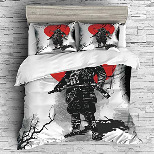 YOLIYANA Queen Size Duvet Cover Set/Japanese,Portrait of Skilled Educated Aristocrat Ancient Knight with Weapon Man of War Image,Black Red / 3 Piece Bedding ()
