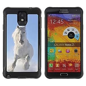 Exotic-Star Hybrid Heavy Duty Shockproof Ballistic Fundas Cover Cubre Case para Samsung Galaxy Note 3 III / N9000 / N9005 ( Majestic blanca del caballo del invierno )