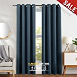 Blackout Curtains for Bedroom 84 inch Long 2 Panels Thermal Insulated Living Room Drapes Navy Blue For Sale