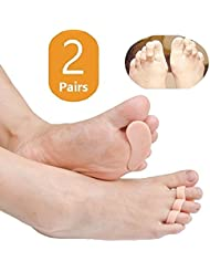 Duorui 2 Pairs Gel Hammer Toe Pads, Hammer Toe Cushion, Overlapping Toes, Toe Straightener, Pain Relief for Curled Toe … (Beige)