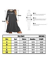 Cnokzol - Vestido de manga larga plisado para mujer con bolsillos