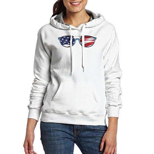 American Flag Sunglasses Womens Print Pocket Hoodies Casual Drawstring - Jeans Club Sunglasses
